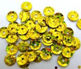Пайетки неон 6 мм, золотистые 50 гр