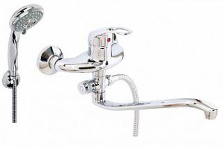 Смеситель для ванны и умывальника LUX OLIO, d-40, картриджный, S-обр. излив 295 мм,