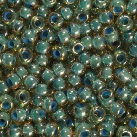 Бисер чешский 11022 прозрачный янтарный внутри синяя линия Preciosa 1 сорт