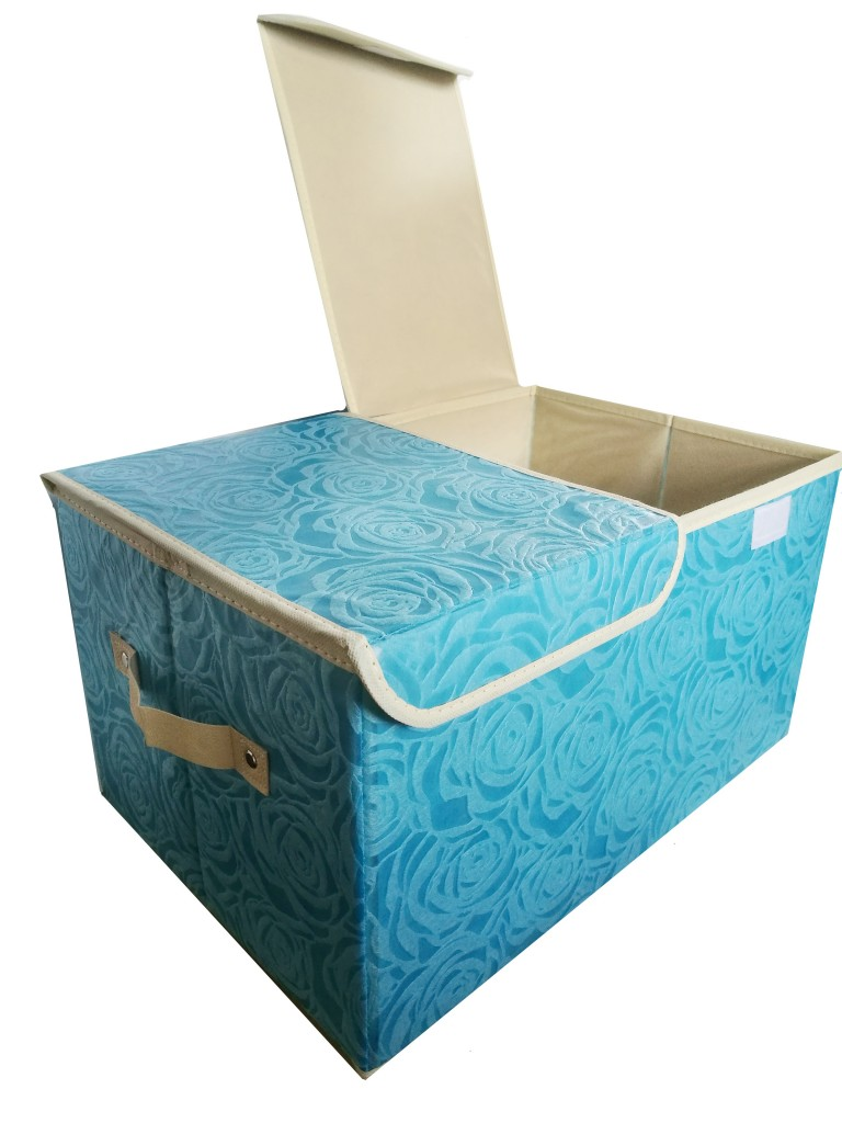 Складной короб для хранения с двойной крышкой Розы, 44х29х25 см