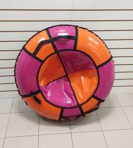 Тюбинги 110 см ПВХ взрослым и детям розово оранжевые (4 ручки)