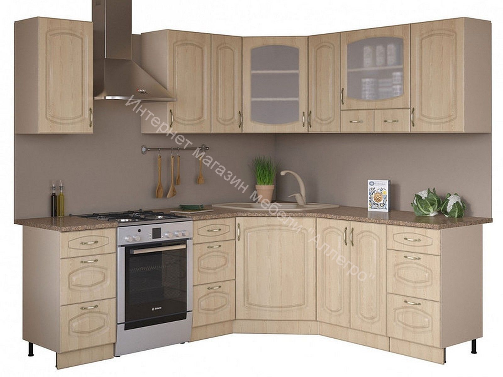 Угловая кухня Паула 1,65х1,85 береза