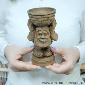 Изделие деревянное Дедушка с корзиной  длина 7 см, ширина 7 см, высота 15 см