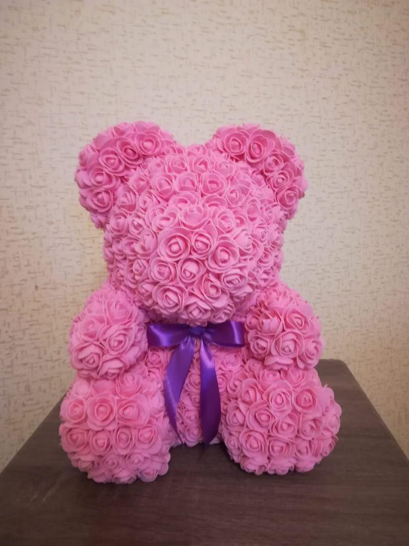 Мишка из роз  (40 см) с бантом в подарочной упаковке