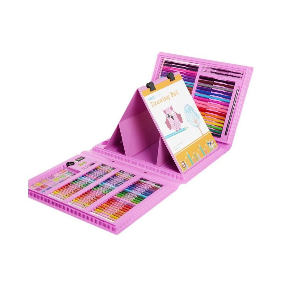 Набор для рисования со складным мольбертом в чемоданчике, 176 предметов, цвет Розовый