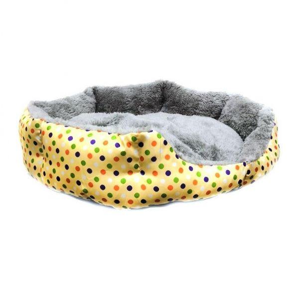 Круглый меховой лежак для кошек и собак Горошек 35 см, Жёлтый