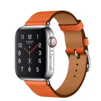 Apple Watch Hermes Series 5 44mm Stainless Steel GPS + Cellular Feu Leather Single Tour