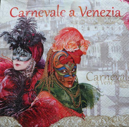 Салфетка бумажная33*33 Carnevale a Venezia