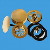 """Ремкомплект для автослива-перелива: металлические поворотная головка, 70мм решетка, 50мм пробка-""""грибок""""; цвет-золото"""