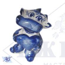Бык Амурчик (синее сердце)  8х5х4,5см. Гжель.