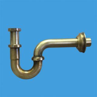 """—ифон трубный P-образный (1 1/4""""х32мм) металлический без выпуска с отводной трубой D32мм и отражателем; выход ƒн=32мм; цвет-антична¤ бронза"""