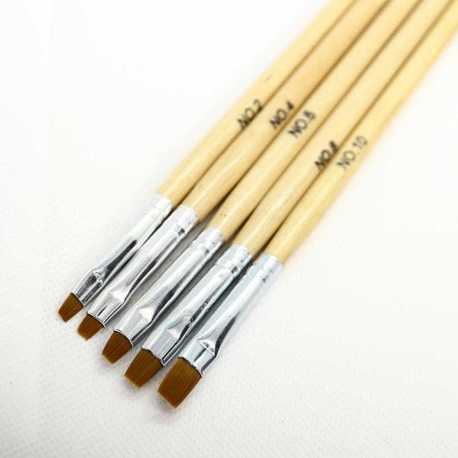 Набор кистей для геля с деревянной ручкой 5 шт №2, 4, 6, 8, 10 (4008)