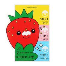 """Tony Moly"" Homeless Strawberry Seeds 3-step Nose Pack, Пластыри для носа против черных точек, 6г"