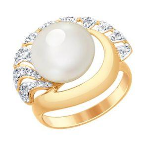 Кольцо из золота с жемчугом и фианитами 791047 SOKOLOV