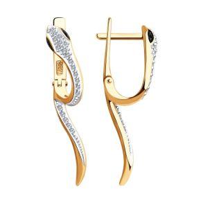 """Серьги """"Змея """"из золота с бриллиантами 7020071 SOKOLOV"""