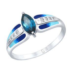 Кольцо из серебра с эмалью и синим топазом и фианитами 92011744 SOKOLOV