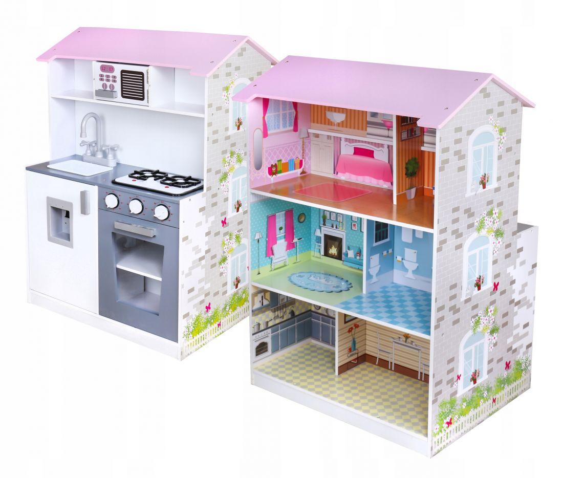 Большая деревянная кухня и домик для кукол 2 в 1 TOBI
