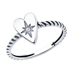 Кольцо из чернёного серебра 95010129 SOKOLOV