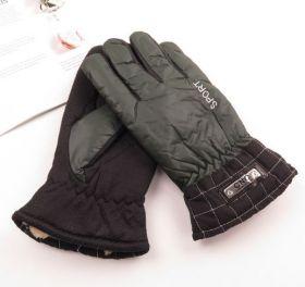 Перчатки краги мужские зимние теплые зеленые