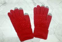 Вязаные шерстяные женские и подростковые сенсорные перчатки Красные
