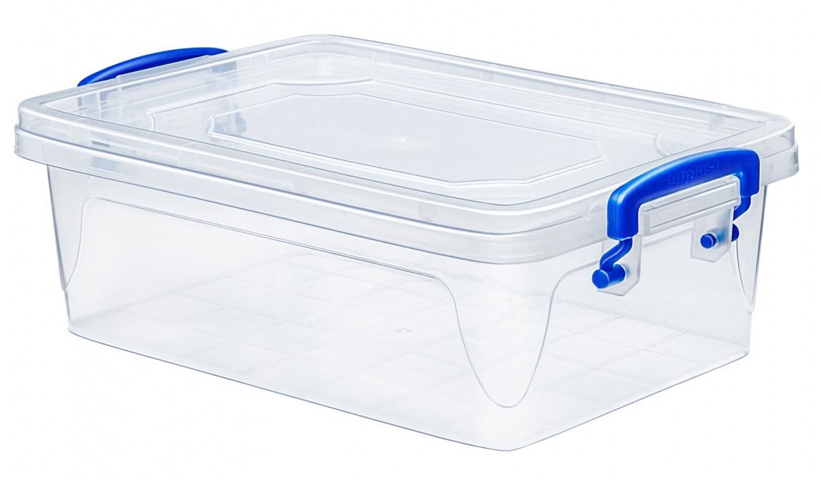 Контейнер для хранения Эльфпласт Fresh Box slim 3,8 литра прозрачный/синий с крышкой 30,8х20,5х10,5 см