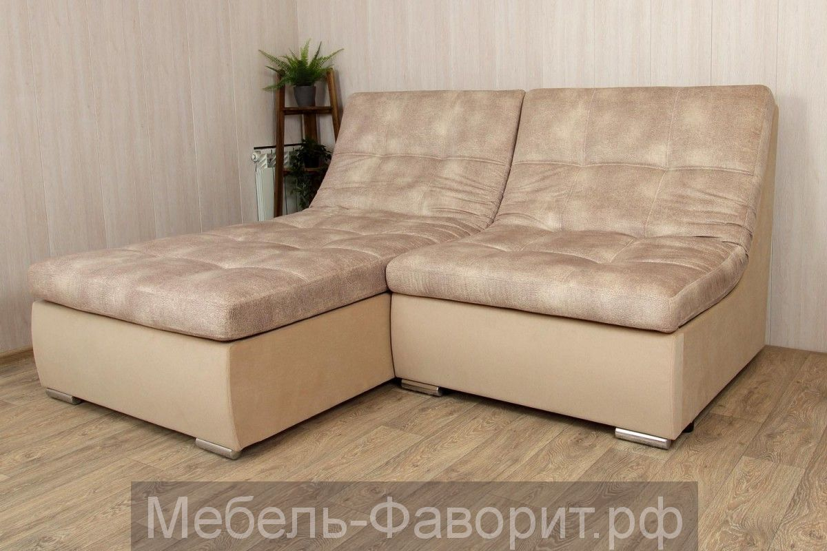 Угловой диван «Виктория (КЛ+1Р)» Venus latte/Shaggy besee