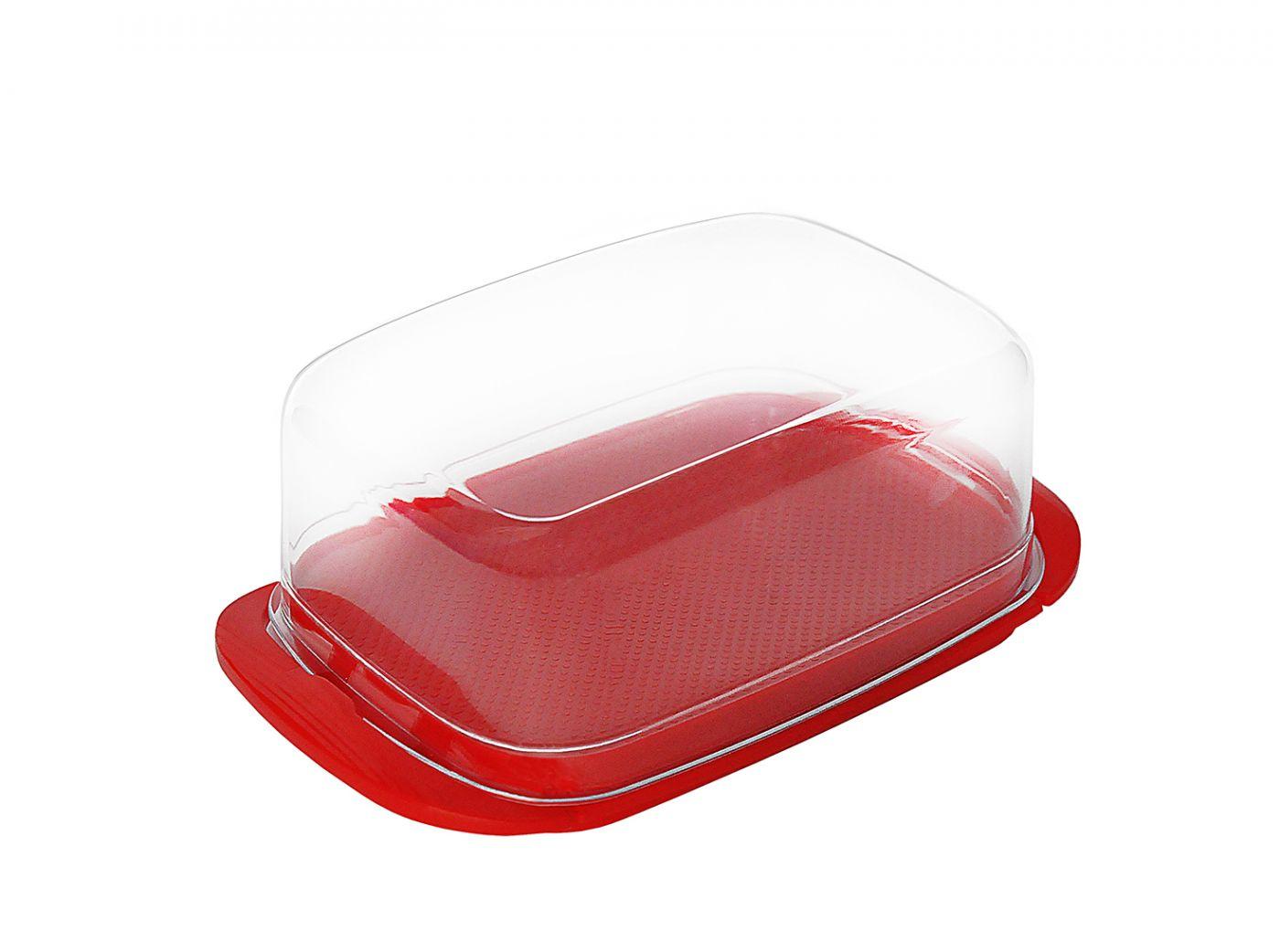 Масленка красная Эльфпласт 18х10,5х7,1 см