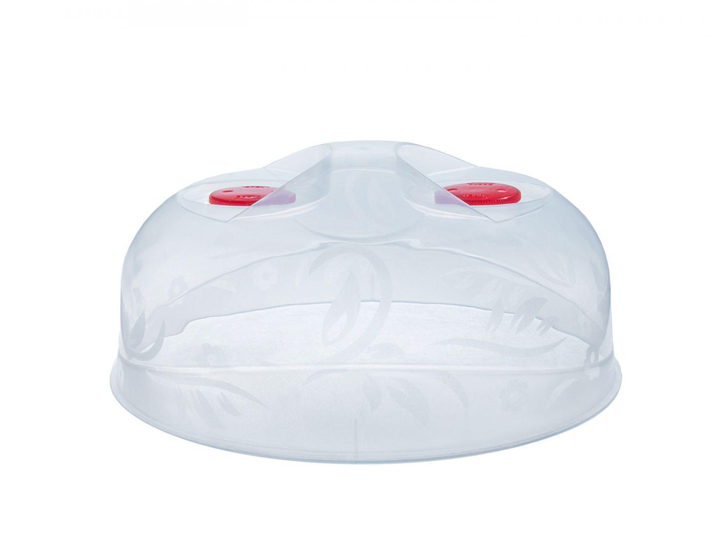 Крышка для микроволоновой печи / СВЧ Лайт 25 см с 2-мя клапанами круглая прозрачная Эльфпласт