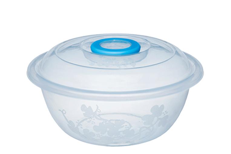 Таз мерный Изобилие миска 8 литров / контейнер для хранения 35 см прозрачный с крышкой Эльфпласт
