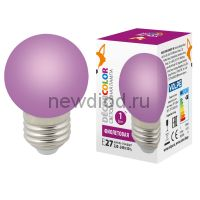 "Лампа декоративная светодиодная LED-G45-1W/PURPLE/E27/FR/С Ф ""шар"", матовая Цвет фиолетовый ТМ Volpe"