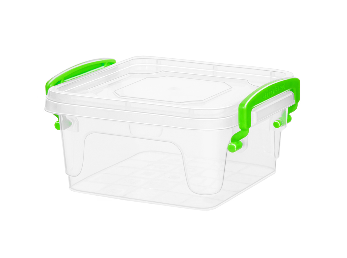 Контейнер для хранения Fresh Box 2,4 литра квадратный с крышкой прозрачный/салатовый Эльфпласт 12х20х18 см