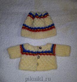 Кофта и шапочка с полосками для зайки