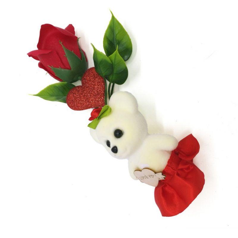 Мыльная роза с мишкой (цвет красный)