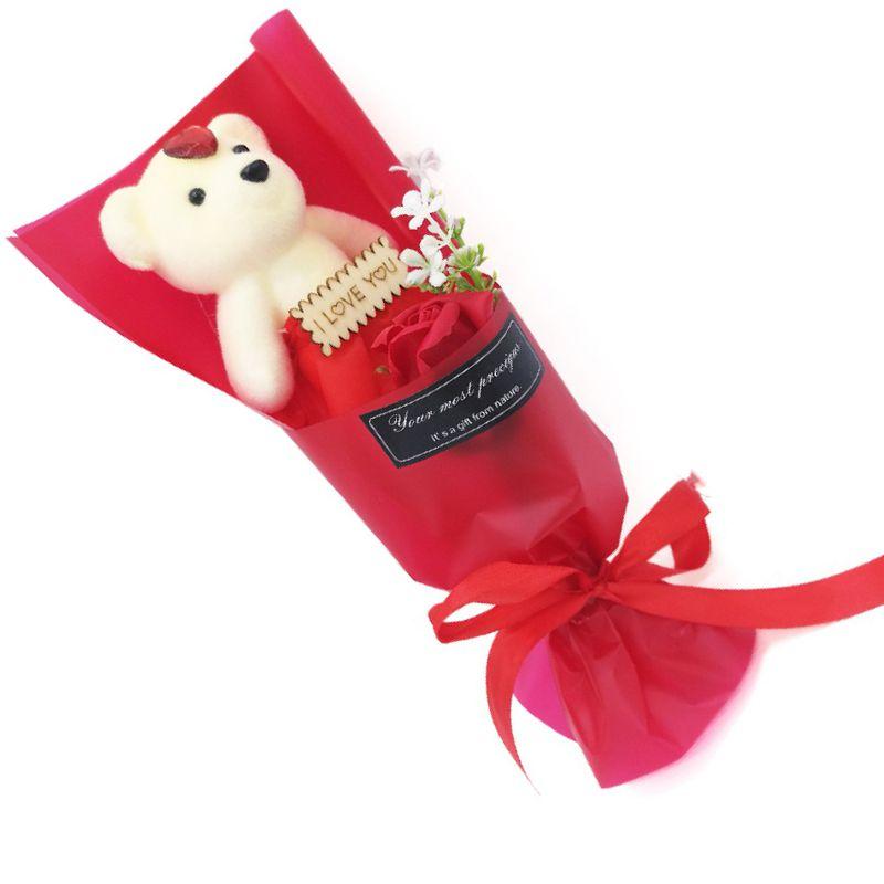 Мыльная роза с мишкой в упаковке (цвет красный)
