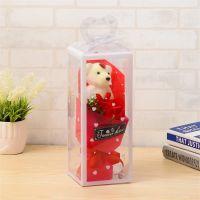 Мыльная роза с мишкой в упаковке (цвет красный)_2