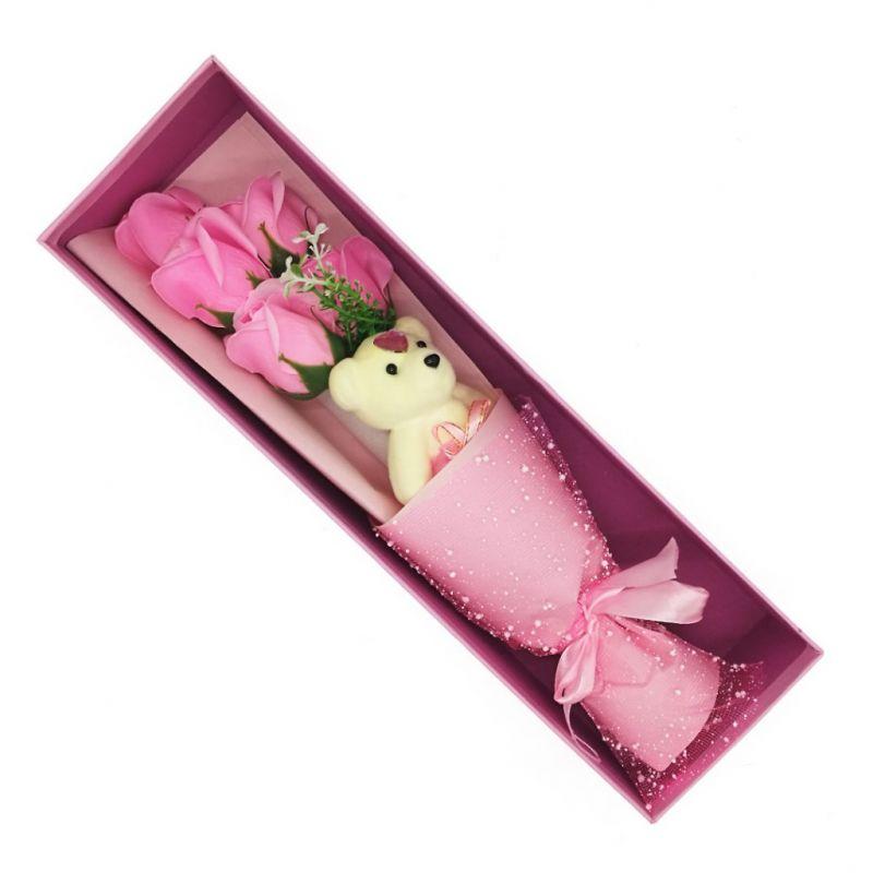 Букет мыльных роз с мишкой в коробке (цвет розовый)