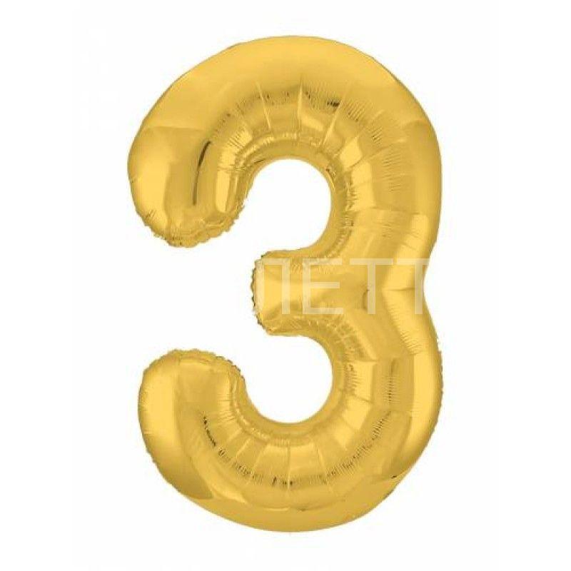 """Цифра """"3"""" Slim Золото"""