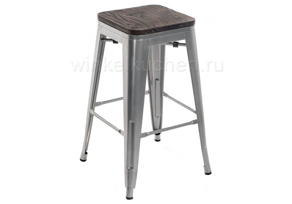 Барный стул Tolix Bar wood CColl T-2103B-26 alum / brown walnut