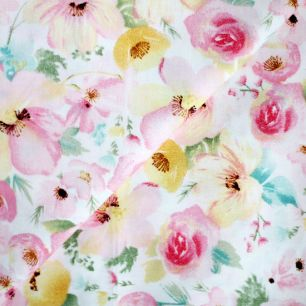 Ткань Розовые акварельные цветы  50х40см
