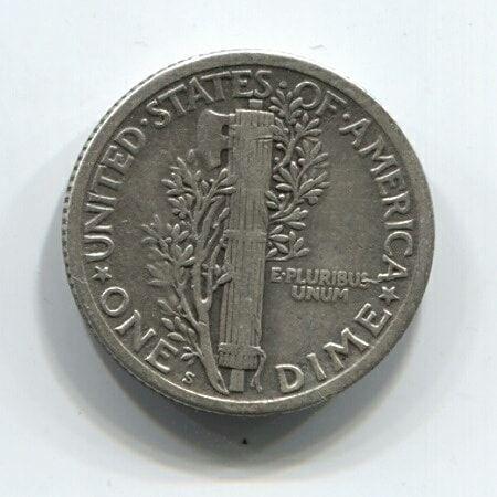 1 дайм (10 центов) 1923 года S редкий тип США