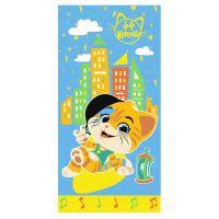 """Детское махровое полотенце """"Лампо. 44 котёнка"""" рис.1146-01 синее"""