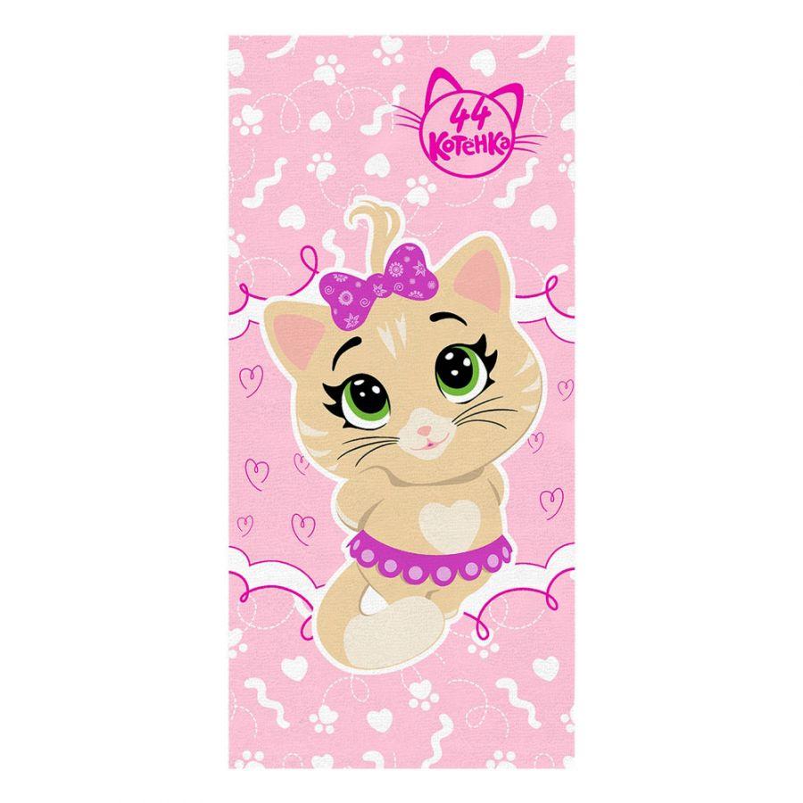 """Детское махровое полотенце """"Пилу. 44 котёнка"""" рис.1144-02 розовый"""
