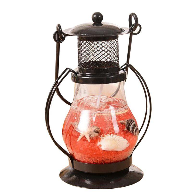 Гелевая свеча Керосиновая Лампа 9 см (цвет наполнителя красный)