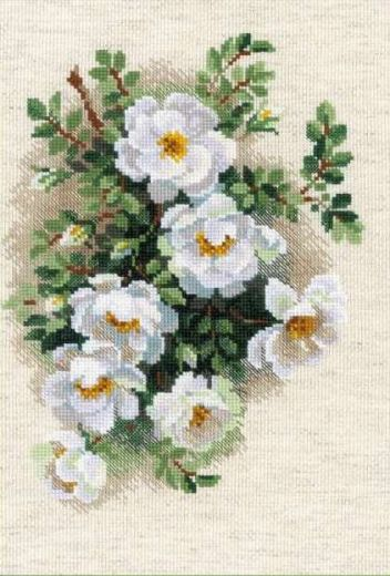 Набор для вышивания крестом Белый шиповник №1351 фирма Риолис