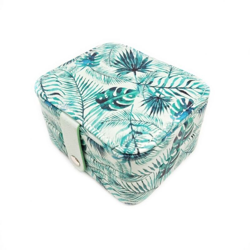 Мини шкатулка для ювелирных изделий Папоротник 11х9х6 см (цвет зелёный)
