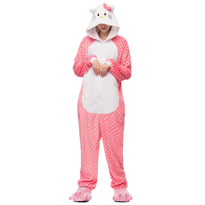 Пижама Кигуруми Кошка Розовая Горох