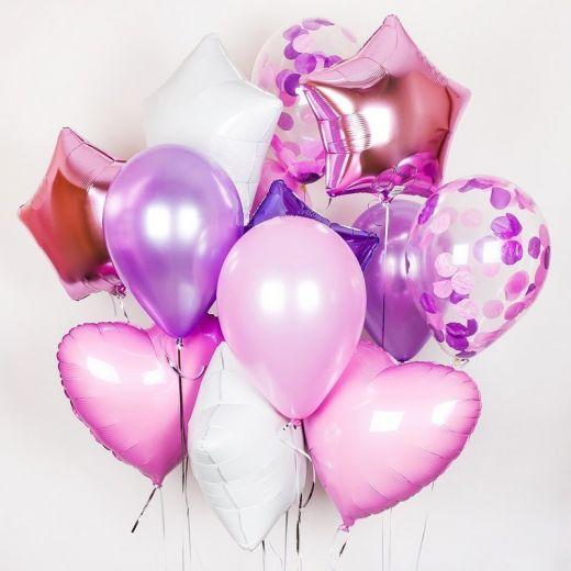 """Набор гелиевых фольгированных шаров """"Розовый закат"""""""