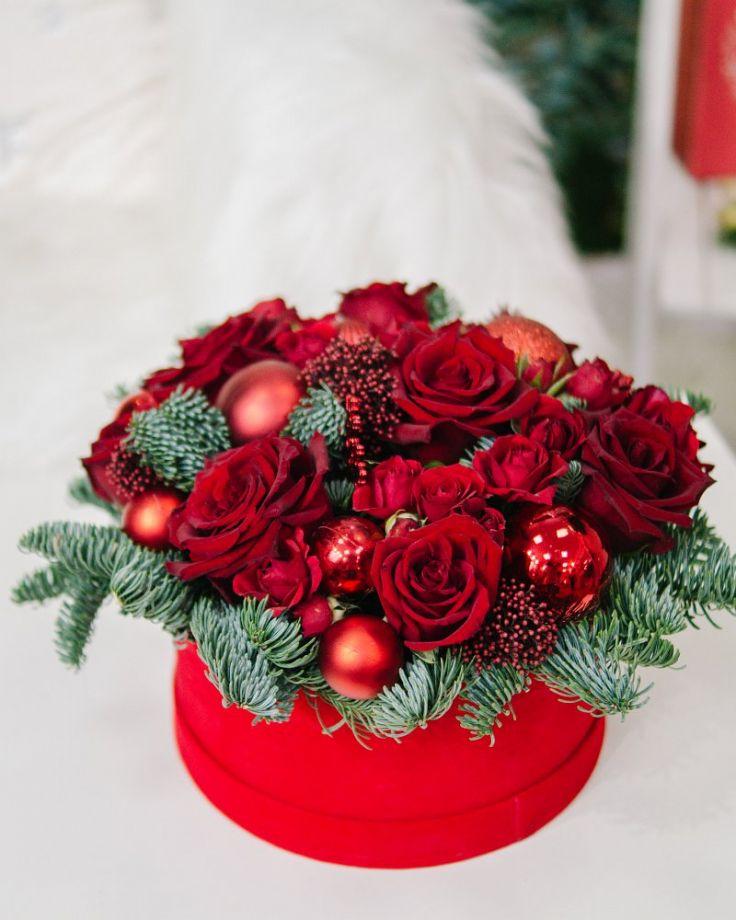 "Коробка с цветами ""Красный бархат"""