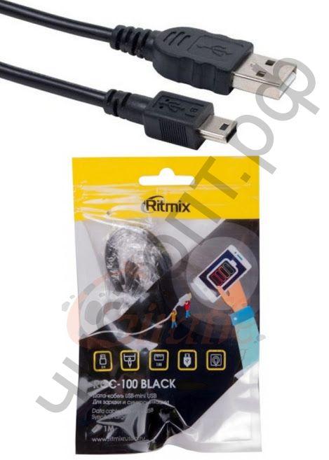 Кабель USB - mini USB RITMIX RCC-100, черный, 1 м.
