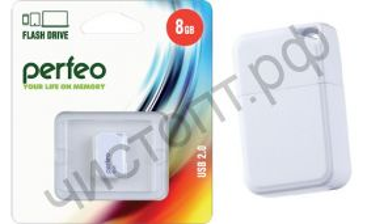 флэш-карта Perfeo 8GB M03 White мини брелок
